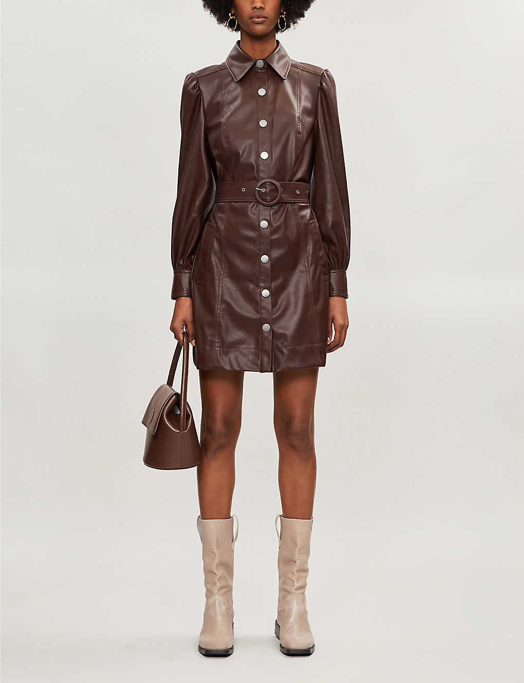 KITRI: Button-through faux-leather mini dress