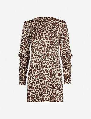 KITRI Alexandra leopard-print crepe mini dress
