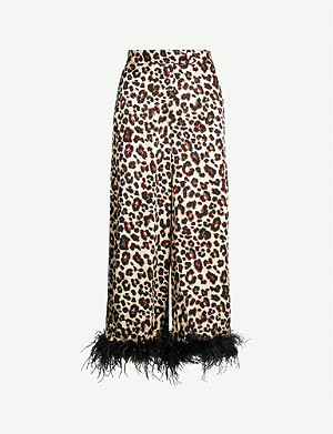 KITRI Apollo leopard-print satin trousers