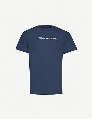 TOMMY JEANS: Logo-embroidered cotton T-shirt