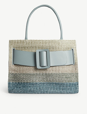 BOYY Bobby leather-trimmed raffia bag