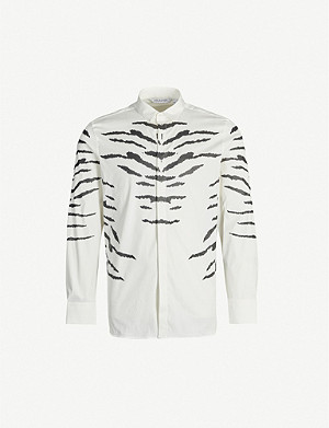 NEIL BARRETT Collared tiger-print cotton-blend shirt