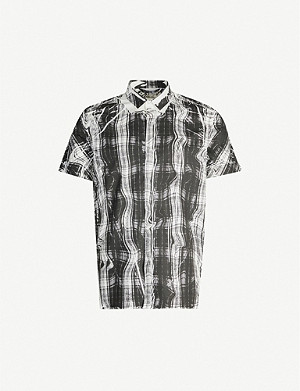 NEIL BARRETT Abstract-print short-sleeved stretch-cotton shirt