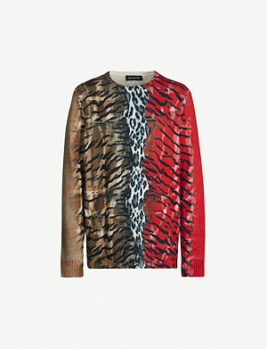 NEIL BARRETT Animal-print cotton and cashmere-blend jumper