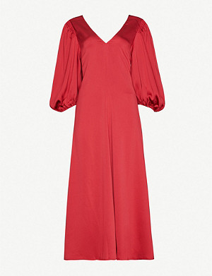 STINE GOYA Marlen puffed-sleeve satin midi dress