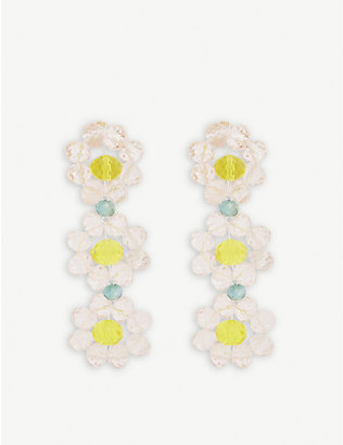 STINE GOYA: Tiscar beaded floral drop earrings