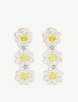 STINE GOYA Tiscar beaded floral drop earrings