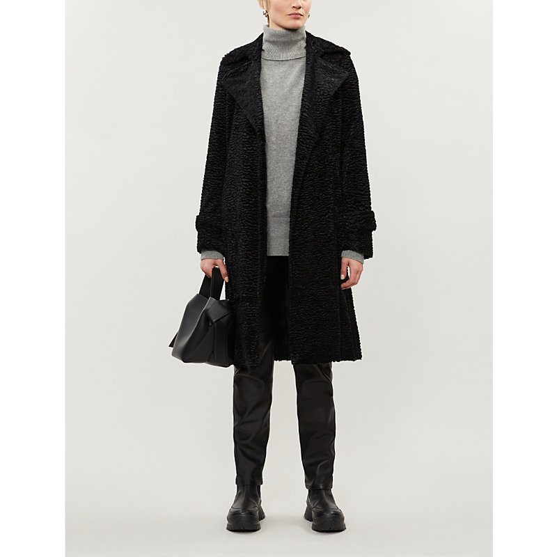 Theory Coats OAKLANE SHEARLING AND GOAT LEATHER COAT