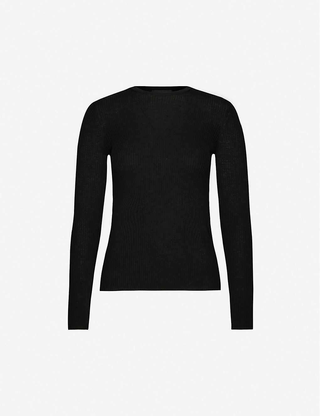 THEORY: Round-neck ribbed wool-blend jumper