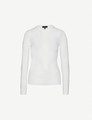 THEORY Round-neck ribbed wool-blend jumper