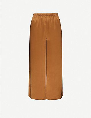 THEORY: Cropped wide-leg silk trousers