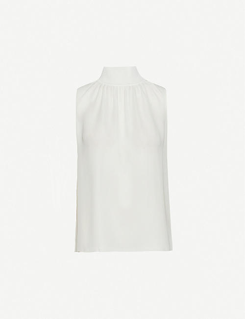 THEORY Sleeveless ribbed-neck silk top