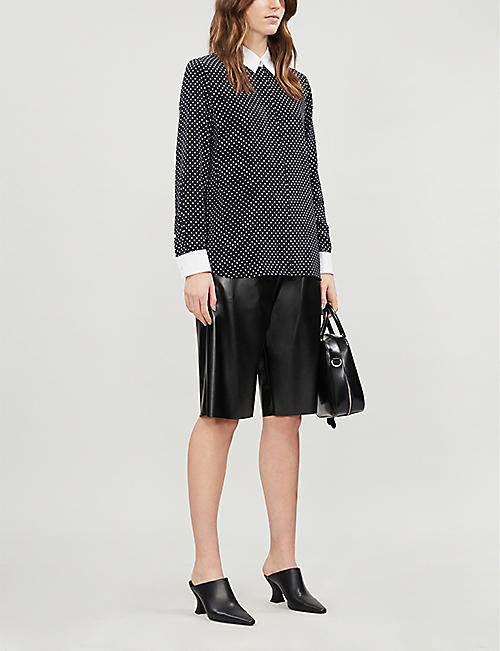 THEORY Polka-dot crepe shirt