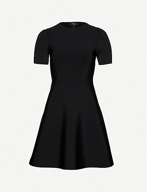 THEORY Flared stretch-knit mini dress