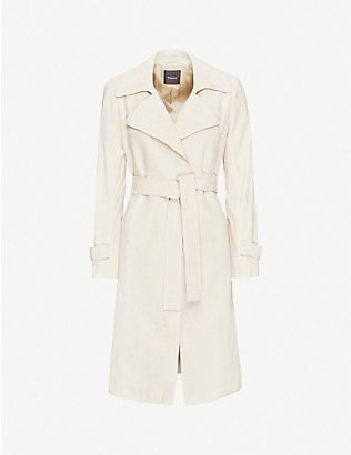 THEORY: Oaklane belted suede trench coat