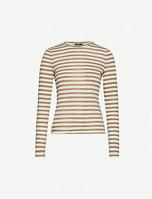 THEORY Tiny Tee striped long-sleeved stretch-jersey T-shirt