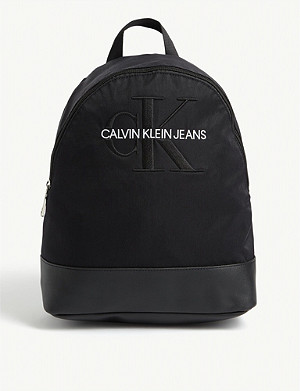 CALVIN KLEIN JEANS Monogram logo nylon backpack