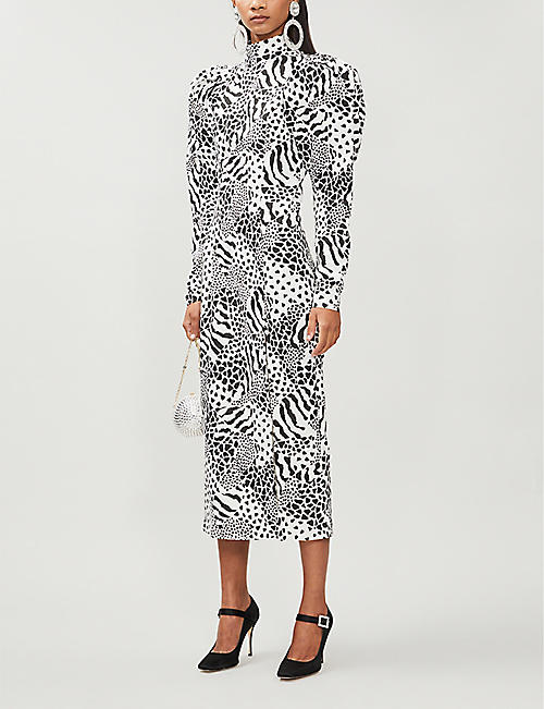 ROTATE BIRGER CHRISTENSEN Theresa peasant-sleeve printed cotton-blend midi dress
