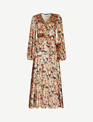 ROTATE BIRGER CHRISTENSEN Beatrix floral-print velvet midi wrap dress