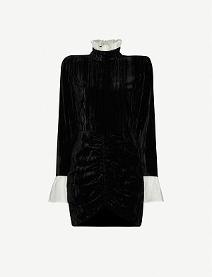 ROTATE BIRGER CHRISTENSEN Miki ruffle-trim velvet mini dress