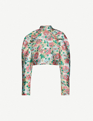 ROTATE BIRGER CHRISTENSEN Kim metallic floral-jacquard top