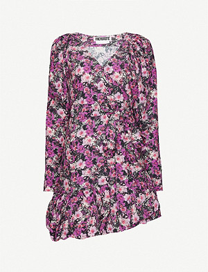 ROTATE BIRGER CHRISTENSEN Nancy floral-print woven wrap mini dress