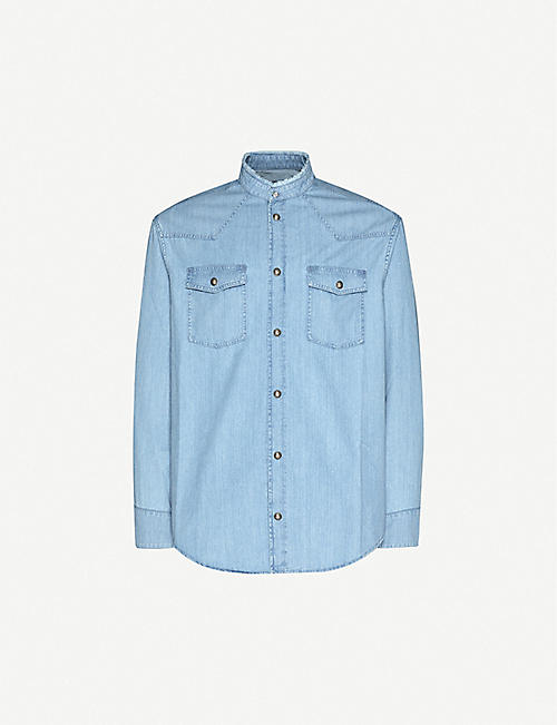 BALMAIN: High-neck brand-print denim shirt