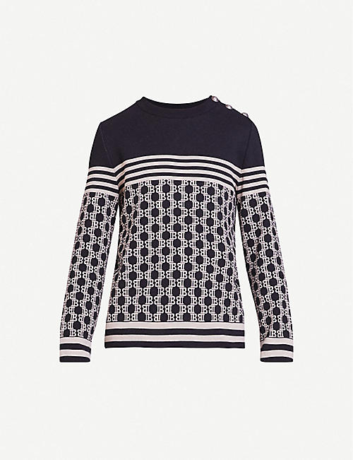 BALMAIN Logo-intarsia cotton-knit jumper
