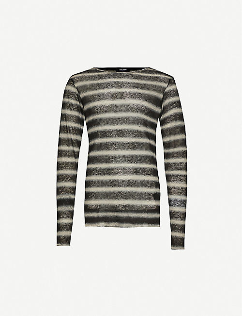 BALMAIN Striped linen-knit jumper