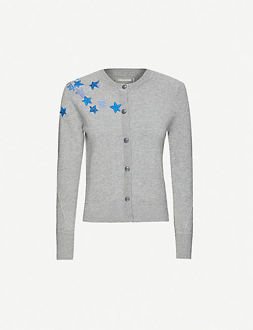 ZADIG&VOLTAIRE Star crystal-embellished cotton-blend cardigan