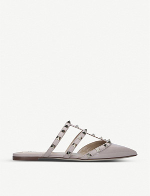 VALENTINO Rockstud pointed-toe leather mules