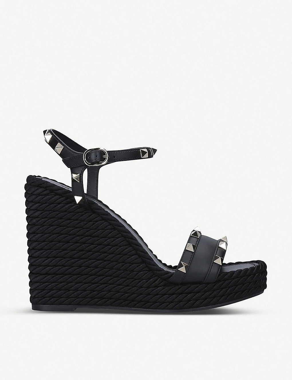 VALENTINO: Rockstud leather wedge sandals