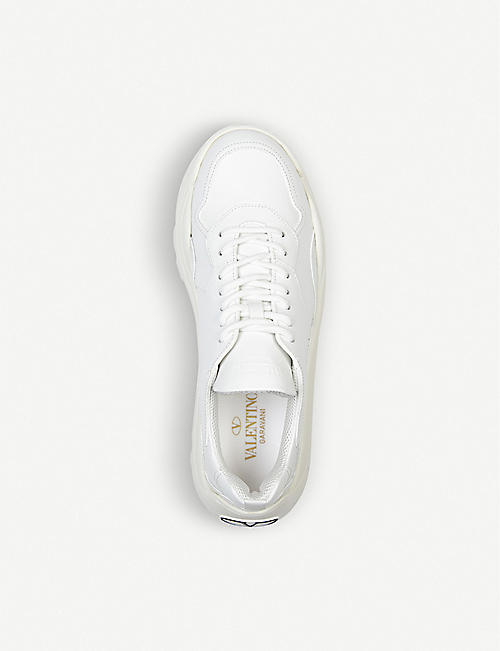 VALENTINO Gumboy panelled leather and suede low-top trainers