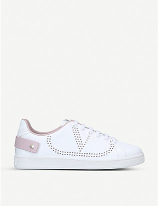 VALENTINO GARAVANI: Backnet perforated leather trainers