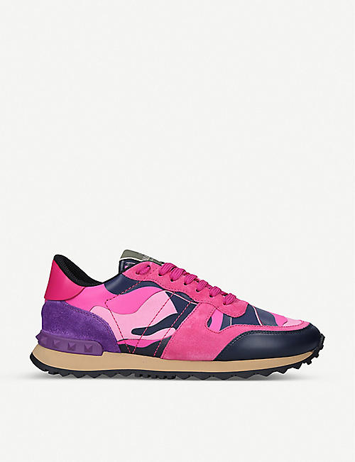 VALENTINO Rockrunner camo-print leather trainers
