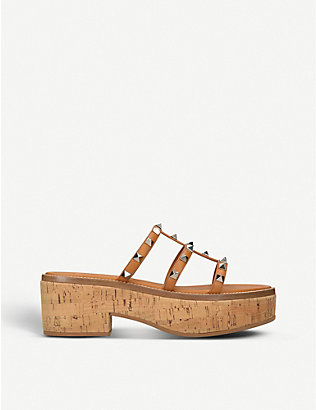VALENTINO: Rockstud leather and cork platform sandals