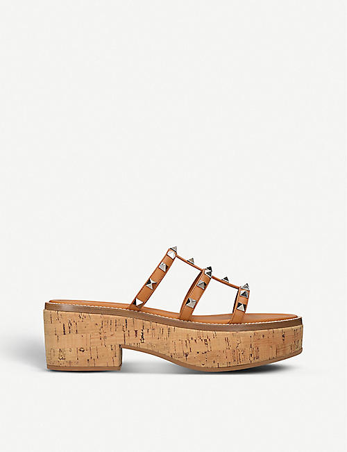VALENTINO GARAVANI: Rockstud leather and cork platform sandals