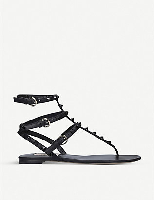 VALENTINO: Rockstud leather sandals