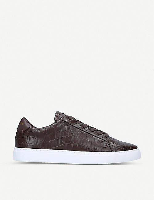 KG KURT GEIGER: Donnie croc-embossed leather low-top trainers