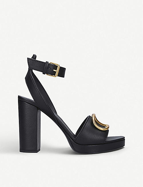 VALENTINO GARAVANI: V logo-embellished leather heeled sandals