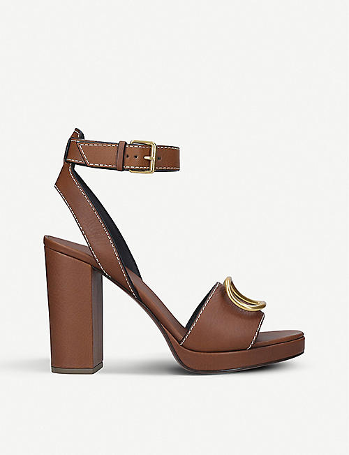 VALENTINO V logo-embellished leather heeled sandals