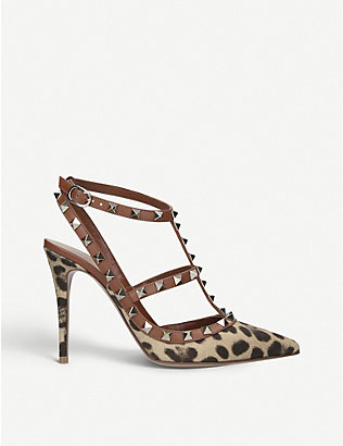 VALENTINO GARAVANI: Rockstud 100 leopard-print leather heeled sandals