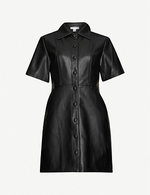 TOPSHOP Buttoned faux-leather mini dress