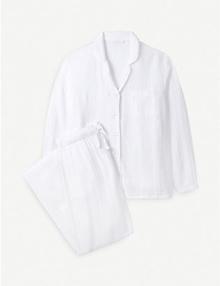 THE WHITE COMPANY: Long-sleeved relaxed-fit cotton pyjamas