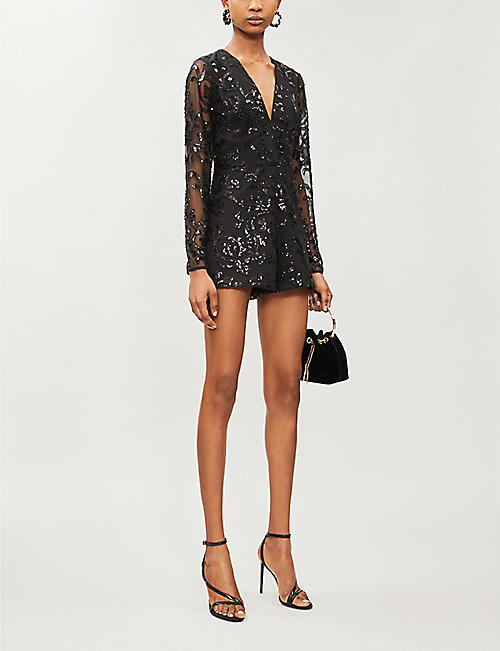 ALEXIS Riso sequin-embellished mesh playsuit