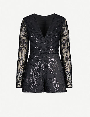 ALEXIS: Riso sequin-embellished mesh playsuit