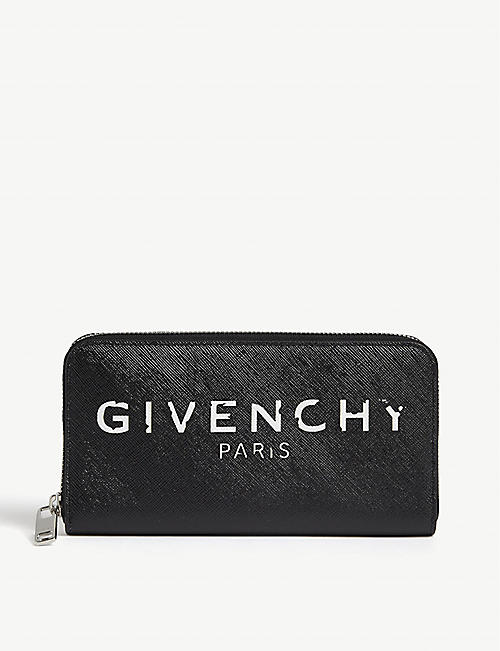 GIVENCHY: Stencil logo leather wallet