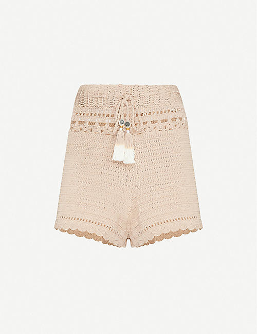 SHE MADE ME: Ila high-rise crochet shorts