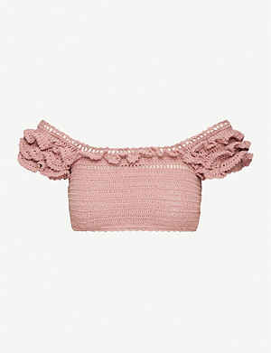 SHE MADE ME Off-the-shoulder cotton-crochet top