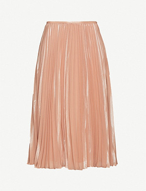 SAMSOE & SAMSOE Juliette metallic pleated crepe midi skirt